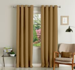 Lushomes Brown Polyester Blackout Curtains With 8 Eyelets For Long Door