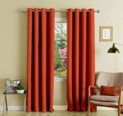 Lushomes Maroon Polyester Blackout Curtains With 8 Eyelets For Long Door