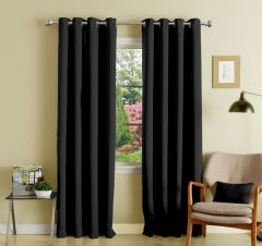 Lushomes Black Polyester Blackout Curtains With 8 Eyelets For Long Door