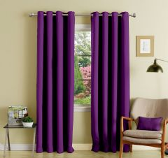 Lushomes Purple Polyester Blackout Curtains With 8 Eyelets For Long Door