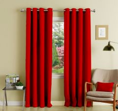 Lushomes Red Polyester Blackout Curtains With 8 Eyelets For Long Door