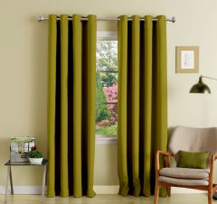 Lushomes Ginger Polyester Blackout Curtains With 8 Eyelets For Long Door