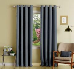 Lushomes Polyester Blackout Curtains With 8 Eyelets For Long Door