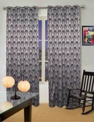 Lushomes Polyester Navy Jacquard Curtains With 8 Eyelets For Door
