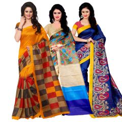 Wama Fashion Set of 3 Multicolour Bhagalpuri Silk Sarees  (Code - Combo_Jolly_Bulbul_Mayurpankh(Pack of 3)