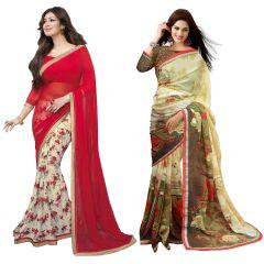 Wama Designer Sarees - Wama fashion georgette red color  flower design printed designer saree(TZ_Moneco_valention)