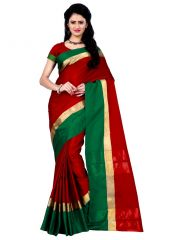 Wama Red Cotton Silk Saree With Blouse(TZ_Himanishi _ Red)