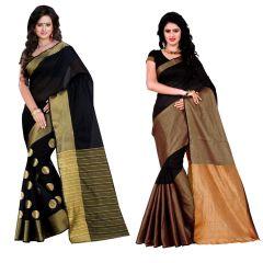 Wama Fashion set of 2 Silk Sarees (Code - Combo_TZ_Vishva Dots and  TZ_Vishwa_Black)