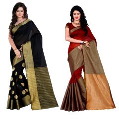 Wama Fashion set of 2 Silk Sarees (Code - Combo_TZ_Vishva Dots and TZ_Vishwa_Marun)