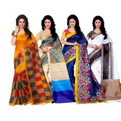 Wama Fashion Set of 4 Multicolour Bhagalpuri Silk Sarees  (Code - Combo_Jolly_Mayurpankh_Gori_Botnikal(Pack of 4)