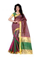 Wama Fashion Green Tusser Silk Saree For Women With Blouse(TZ_Shilpa_Green)