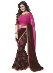 Wama Fashion Georgette Pink And Cofee Flower Design Printed Designer Saree