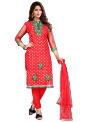 Salwar Suits (Readymade) - wama fashion net fabric salwar suit with duppata(TZ_Kabali_red)