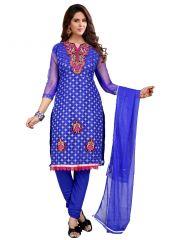 Wama Dress Materials (Singles) - wama fashion net fabric salwar suit with duppata(TZ_kabali_Blue)
