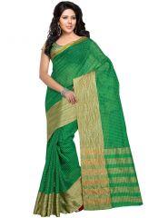 wama fashion cotton silk sari(TZ_Kumkum_Green)