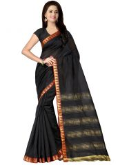 wama Jaucquard lace border cotton sari with blouse(TZ_Milli_black)