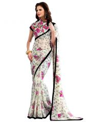 Wama Fashion Georgette White Colot  Flower Design Printed Designer Saree