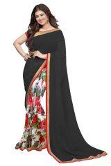 Wama Women's Clothing - Wama fashion georgette Black color  flower design printed designer saree