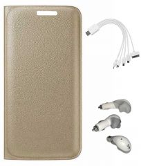 TBZ PU Leather Flip Cover Case for Micromax Canvas 6 Pro E484 with Car Charger and 5 in 1 Multi charging USB Cable - Golden