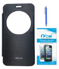 Tbz Flip Cover Case For Asus Zenfone 2 Laser -Ze550Kl With Tempered Glass Screen Guard And Stylus -Black
