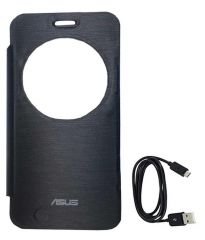 Tbz Flip Cover Case For Asus Zenfone 2 Laser -Ze550Kl With Data Cable -Black