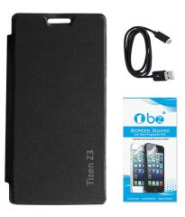 Tbz Flip Cover Case For Samsung Tizen Z3 With Screen Guard And Data Cable - Black
