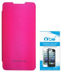 TBZ Flip Cover Case For Micromax Canvas Nitro A310 With Screen Guard -Pink