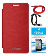 Tbz Flip Cover Case For Lenovo A7000 With Screen Guard And Data Cable + Aux Cable -Red