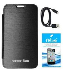 Tbz Flip Cover Case For Huawei Honor Bee With Screen Guard And Data Cable - Black