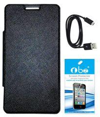 Tbz Premium Flip Cover Case For Micromax Canvas Nitro 2 E311 With Screen Guard And Data Cable -Black