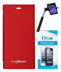 Tbz Flip Cover For Micromax Canvas Xpress A99-Red With Screen Guard & Selfie Stick Monopod With Aux