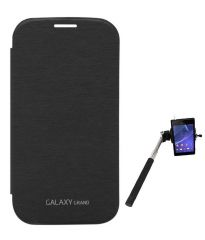 Tbz Flip Cover Case For Samsung Galaxy Grand Duos I9082 With Selfie Stick Monopod With Aux - Black