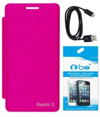 Tbz Flip Cover Case For Xiaomi Redmi2 Prime With Screen Guard And Data Cable-Black