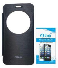 Tbz Flip Cover Case For Asus Zenfone 2 Laser -Ze550Kl With Tempered Glass Screen Guard -Black