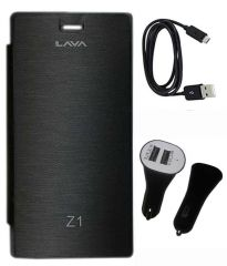 Tbz Flip Cover For Lava Iris Z1 With Car Charger And Data Cable -Black