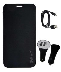 Tbz Flip Cover For Samsung Galaxy On7 With Car Charger And Data Cable -Black