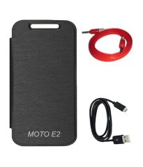Tbz Flip Covers For Motorola Moto E (2Nd Gen.)/ Moto E2/ Motorola Moto E (2Nd Gen.) -Black