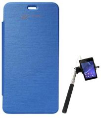 Tbz Flip Cover For Micromax Unite 2 A106 - Blue With Selfie Stick Monopod - Blue With Aux