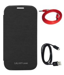 Tbz Flip Cover Case For Samsung Galaxy Grand Duos I9082 With Data Cable And Aux Cable - Black