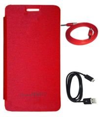 Tbz Flip Cover Case For Micromax Canvas Knight 2 E471 With Data Cable And Aux Cable - Red