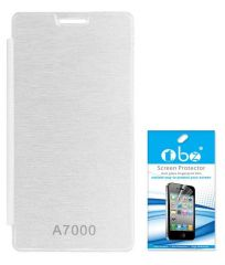 Tbz Flip Cover Case For Lenovo A7000 With Screen Guard -White
