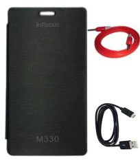 Tbz Flip Cover Case For Infocus M330 With Data Cable And Aux Cable - Black