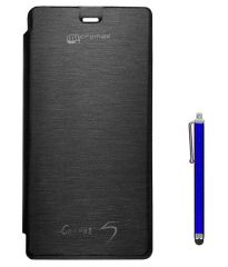 Tbz Flip Cover For Micromax Canvas 5 E481-Black With Stylus