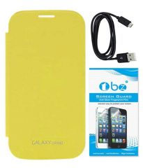 Tbz Flip Cover Case For Samsung Galaxy Grand Duos I9082 With Screen Guard And Data Cable - Yellow