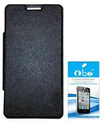 Tbz Premium Flip Cover Case For Micromax Canvas Nitro 2 E311 With Screen Guard -Black