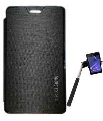 Tbz Flip Cover For Lava Iris X1 Selfie With Selfie Stick Monopod With Aux -Black