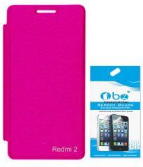 Tbz Flip Cover Case For Xiaomi Redmi2 With Tempered Screen Guard -Black