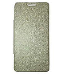 Tbz Premium Flip Cover Case For Micromax Canvas Nitro 2 E311 -Golden