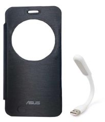 Tbz Flip Cover Case For Asus Zenfone 2 Laser -Ze550Kl With Flexible Usb Led Light Lamp -Black