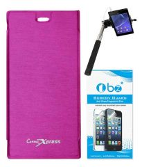 Tbz Flip Cover For Micromax Canvas Xpress A99-Pink With Screen Guard & Selfie Stick Monopod With Aux